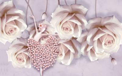 3D Фотообои «Танцующая балерина в розах»