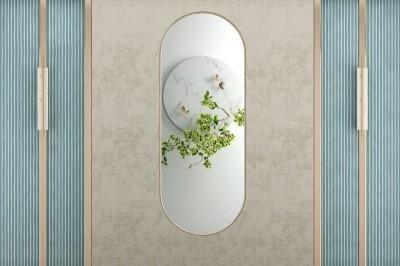3D Фотообои «Цветущая ветвь в зеркальном отражении»