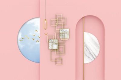 3D Фотообои «Розовый баланс»