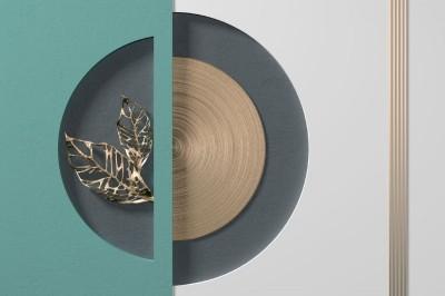 3D Фотообои «Золотые листья в геометрической нише»