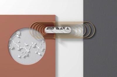 3D Фотообои «Композиция с цветочным барельефом»