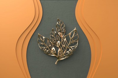 3D Фотообои «Объемная стена с золотыми листьями»