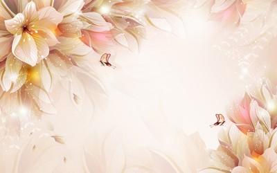 3D Фотообои «Волшебные цветы с бабочками»