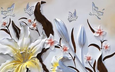 3D Фотообои «Объемные цветы с бабочками»