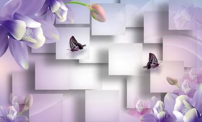 3D Фотообои  «Сиреневые цветы с бабочками»