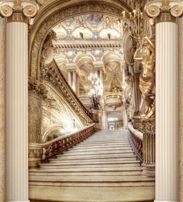 3D Фотообои «Лестница в богатом замке»