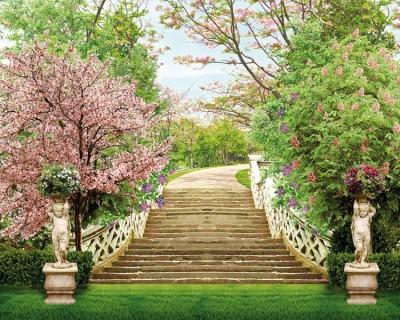 3D Фотообои «Лестница в весеннем парке»