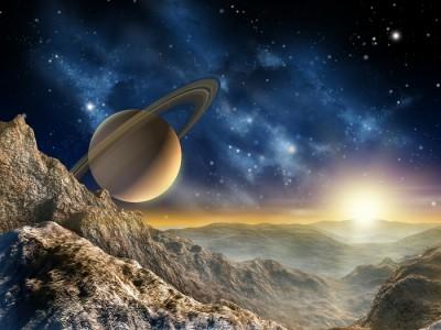 3D Фотообои «Огромный астероид с видом на сатурн»