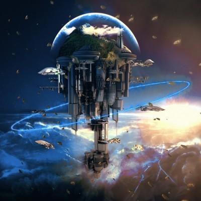 3D Фотообои «Футуристический космический замок»
