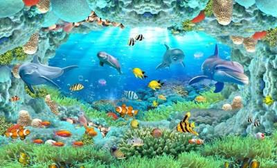 3D Фотообои «Разноцветные морские обитатели»