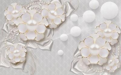 3D Фотообои «Объемные цветы с жемчугом»