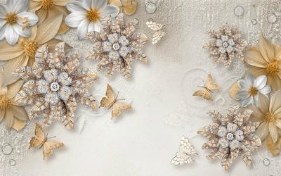 3D Фотообои «Объемные цветы со стразами и бабочками»