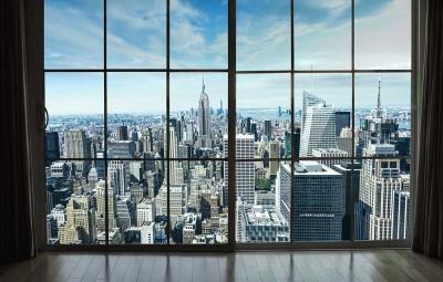 3D Фотообои «Вид из окна на современный город»