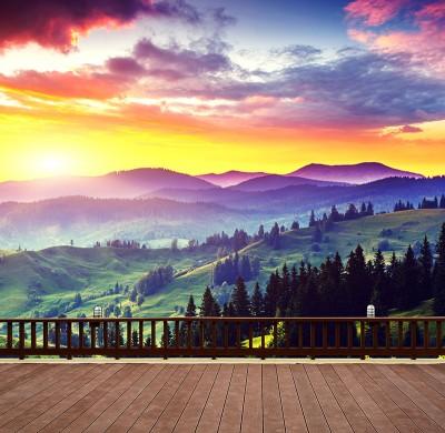 3D Фотообои «Вид на холмы. Закат»