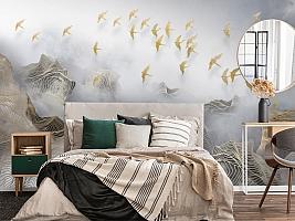 3D Фотообои «Стая в тумане»
