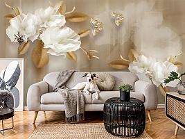 3D Фотообои  «Цветы с драгоценными бабочками» вид 6
