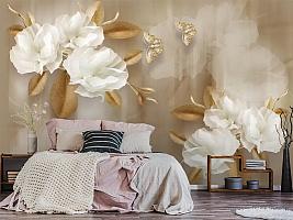3D Фотообои  «Цветы с драгоценными бабочками» вид 5