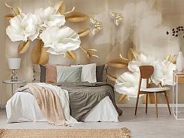 3D Фотообои  «Цветы с драгоценными бабочками» вид 2