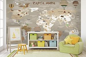 3D фотообои 3D Фотообои «Карта мира для детской в серых тонах» вид 3