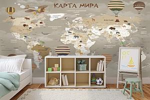 3D фотообои 3D Фотообои «Карта мира для детской в серых тонах» вид 5