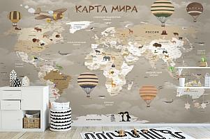 3D фотообои 3D Фотообои «Карта мира для детской в серых тонах» вид 6