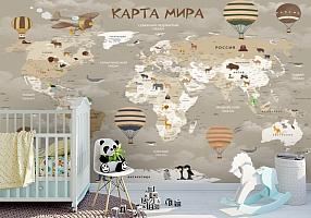 3D Фотообои «Карта мира для детской в серых тонах»