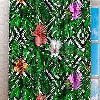 Фотошторы «Листья папоротника с цветами» вид 3