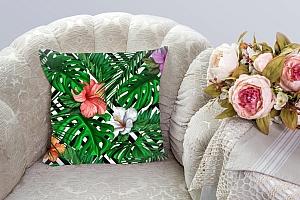 3D Подушка «Листья папоротника с цветами» вид 3