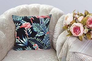 3D Подушка «Тропическая ночь.Фламинго» вид 3