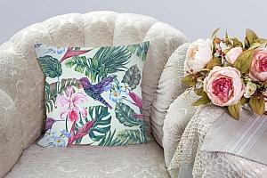 3D Подушка «Колибри с цветами» вид 3