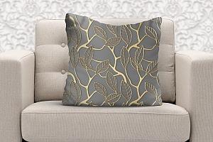 3D Подушка  «Узор с золотыми листьями»