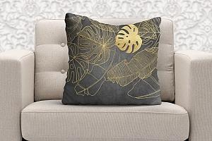 3D Подушка  «Монстеры в золоте»
