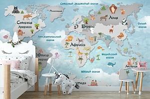 Фотообои «Карта мира для малышей в голубых тонах»