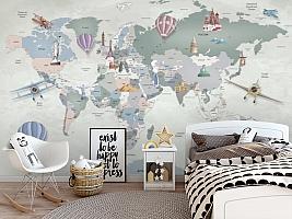 Фотообои «Карта мира с достопримечательностями»