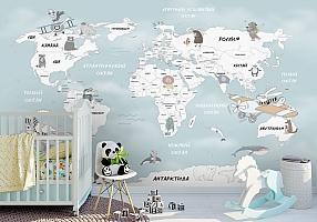 Фотообои «Весёлая карта мира»