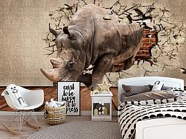 3D Фотообои «Носорог сквозь стену» вид 5