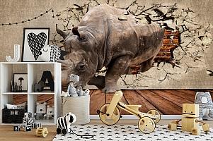 3D Фотообои «Носорог сквозь стену» вид 2