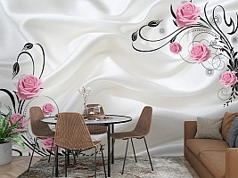3D Фотообои  «Розы на шелке»  вид 3