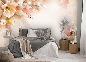 3D Фотообои «Волшебные цветы с бабочками» вид 5