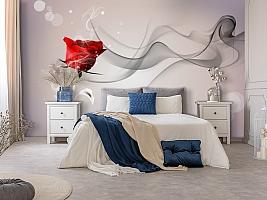3D Фотообои «Красная роза на сером фоне» вид 7