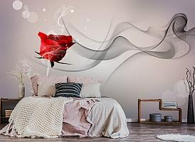 3D Фотообои «Красная роза на сером фоне» вид 4