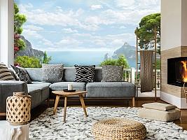 3D Фотообои «Балкон с видом на залив» вид 5