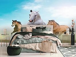 3D Фотообои «Лошади в дикой природе» вид 3