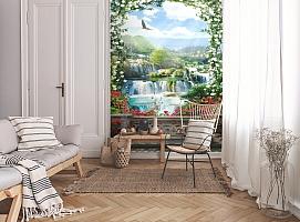 3D Фотообои «Арка из цветов с видом на водопады» вид 9