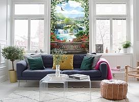 3D Фотообои «Арка из цветов с видом на водопады» вид 5