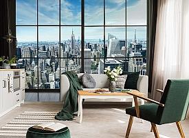 3D Фотообои «Вид из окна на современный город» вид 4