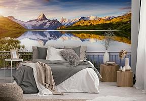 3D Фотообои «Терраса перед горным озером» вид 3
