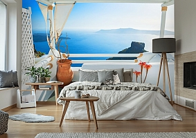 3D Фотообои «Балкончик на берегу лазурного моря» вид 6