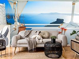 3D Фотообои «Балкончик на берегу лазурного моря» вид 5
