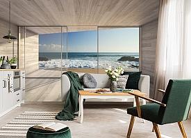 3D Фотообои «Вид из окна на прибой» вид 4